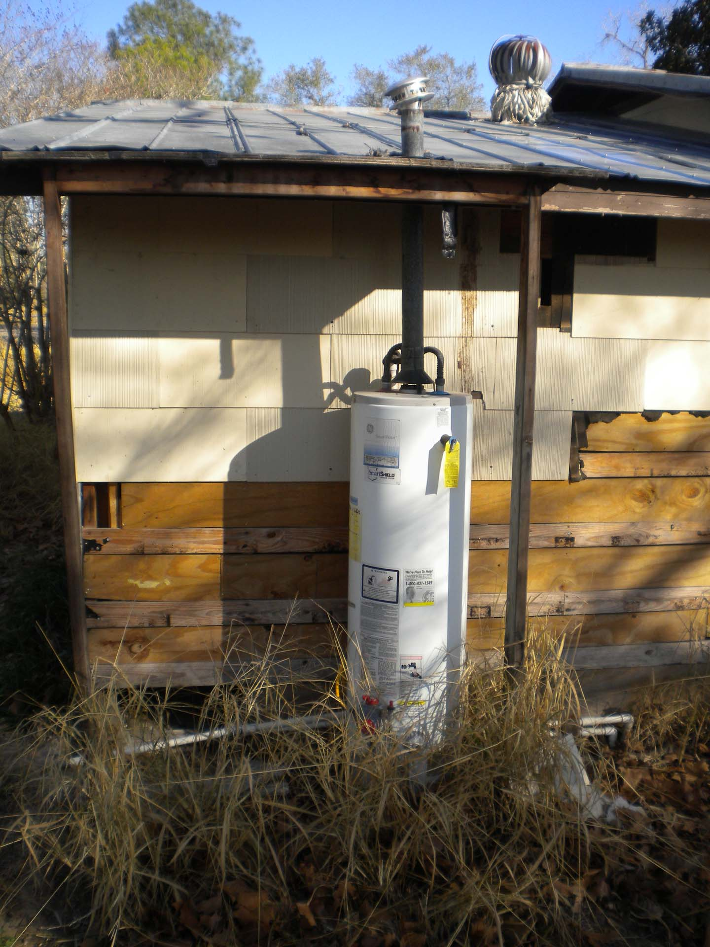 water heater outside of home
